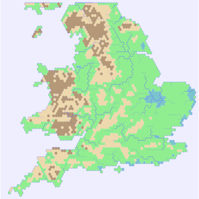 Hex map of England
